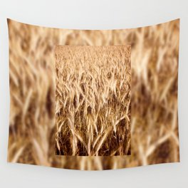 golden cereal grain ears on field Wall Tapestry
