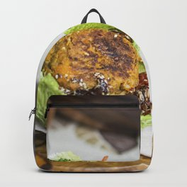 Vegan burgers food photography Backpack