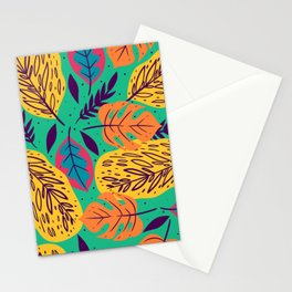 Tropical big multicolor leaves design for home decoration Stationery Cards