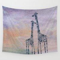 giraffes Wall Tapestries featuring giraffes by Bunny Noir