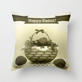 Basket with Easter eggs . Retro . Vintage . Throw Pillow