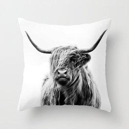 Black & White Highland Scotland Cow  Throw Pillow