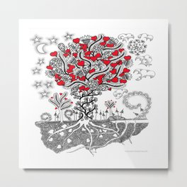 Zentangle Tree of Love - Illustration of Hearts and Love Metal Print