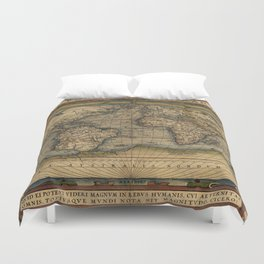 Antique Map of North and South America Duvet Cover