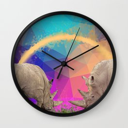 Surreal Rhino Feast Wall Clock