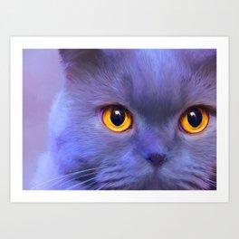 Blue cat portrait Art Print