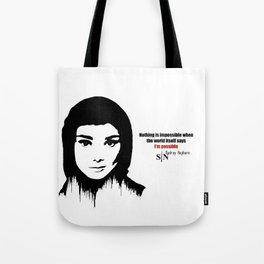 Audrey Hepburn art design ( black and white)  Tote Bag
