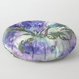 Purple Circle of Lilacs by SK Floor Pillow
