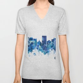 Dayton Ohio Skyline Blue Unisex V-Neck