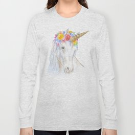 Unicorn Watercolor Painting Long Sleeve T-shirt