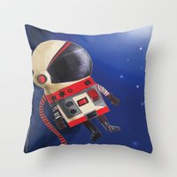 spaceman Throw Pillows featuring Spaceman by Sally Darby Illustration