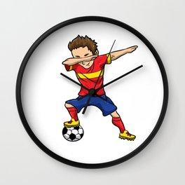 Dabbing Soccer Player Shirt Football Team Kid Gift Wall Clock