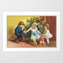 Vintage Christmas Card 1880 Julekort Art Print