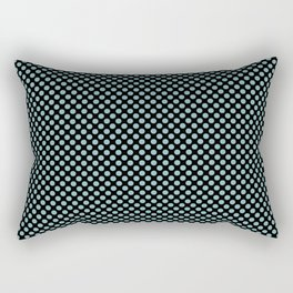 Black and Aqua Haze Polka Dots Rectangular Pillow