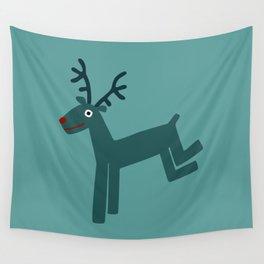 Reindeer-Teal Wall Tapestry