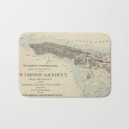 Vintage Map of NYC & The Croton Aqueduct (1899) Bath Mat