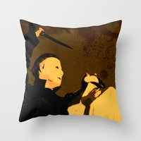 michael myers Throw Pillows featuring Michael Myers * Halloween * Vintage Horror Movie Inspiration by Freak Things | Freak Scifi Art