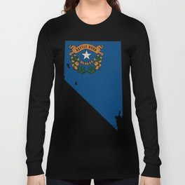 Nevada Map with State Flag Long Sleeve T-shirt