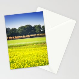 Mustard seed field with a row of trees and maize Stationery Cards