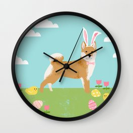 Shiba Inu easter dog breed pet art dog portrait pure breed easter eggs Wall Clock