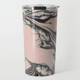 Pink and black marbled paper Travel Mug