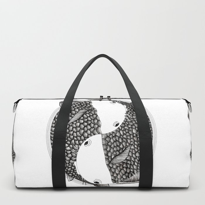 Pisces - Fish Koi - Japanese Tattoo Style (black and white) Duffle Bag