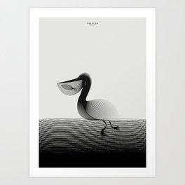 Animals in Moiré | Pelican Art Print
