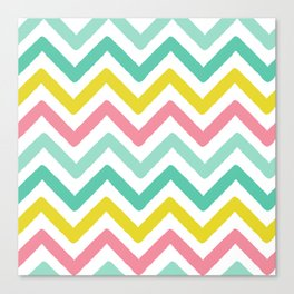 colorful zig zag chevron stripes pattern Canvas Print