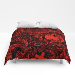 Red and Black IOOF  Woven Symbolism Tapestry Comforters