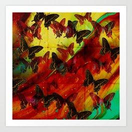 Butterflies Abstract mixed media digital art collage Art Print