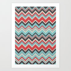 Aztec chevron pattern- grey Art Print