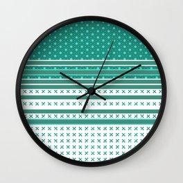 Teal Poka Dot Multi Pattern Design Wall Clock