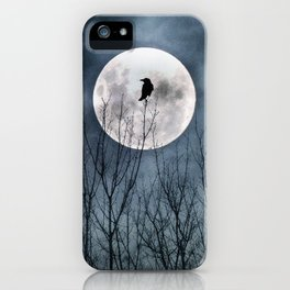 Night Raven Lit By The Full Moon iPhone Case