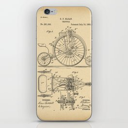 1882 Patent Bicycle Velocipede iPhone Skin