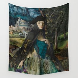 """""""Mystery woman in the forest among flowers"""" Wall Tapestry"""