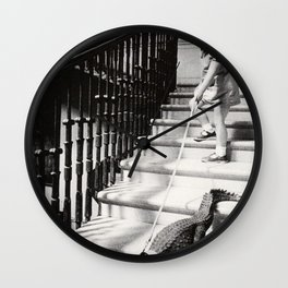 Little Girl with Pet Alligator on a leash black and white photograph / black and white photography Wall Clock