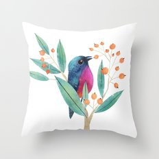 Rose-Bellied Bunting Throw Pillow