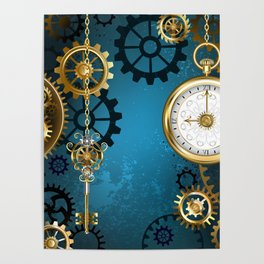 Turquoise Background with Gears ( Steampunk ) Poster