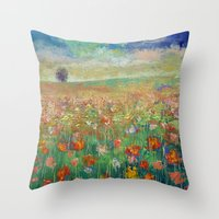 dancing Throw Pillows featuring Dancing by Michael Creese