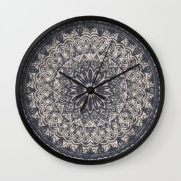 Mandala Geometric Grey and Navy Blue Wall Clock
