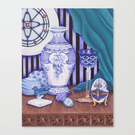 """""""Still life with blue objects II"""" Canvas Print"""