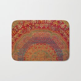 Bohemian Medallion VI // 15th Century Old Distressed Red Green Blue Coloful Ornate Rug Pattern Bath Mat