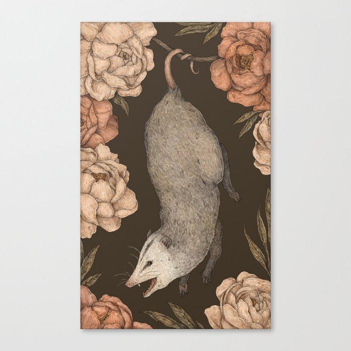 The Opossum and Peonies Leinwanddruck