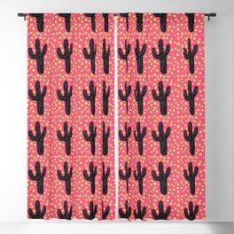 Pink Cactus Print Blackout Curtain