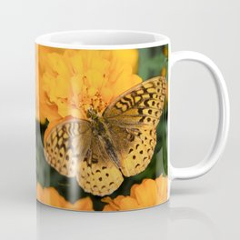 Butterfly on Marigolds Coffee Mug