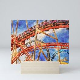Fun on the roller coaster, close up Mini Art Print