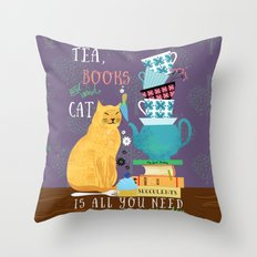 Tea, Books and Cats Throw Pillow