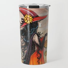 Witch Way Halloween Witch and Cat Fantasy Art by Molly Harrison  Travel Mug