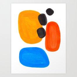 Abstract Mid Century Modern Colorful Minimal Pop Art Yellow Orange Blue Bubbles Ovals Art Print