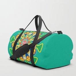 Blue Yellow mandala pattern Duffle Bag